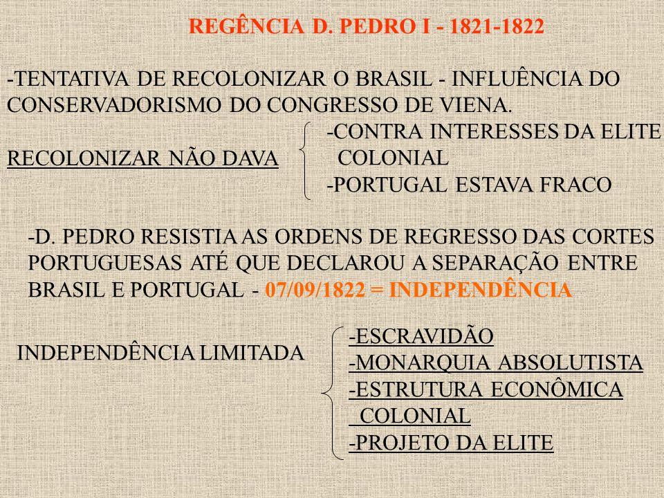 REGÊNCIA D. PEDRO I - 1821-1822 -TENTATIVA DE RECOLONIZAR O BRASIL - INFLUÊNCIA DO. CONSERVADORISMO DO CONGRESSO DE VIENA.