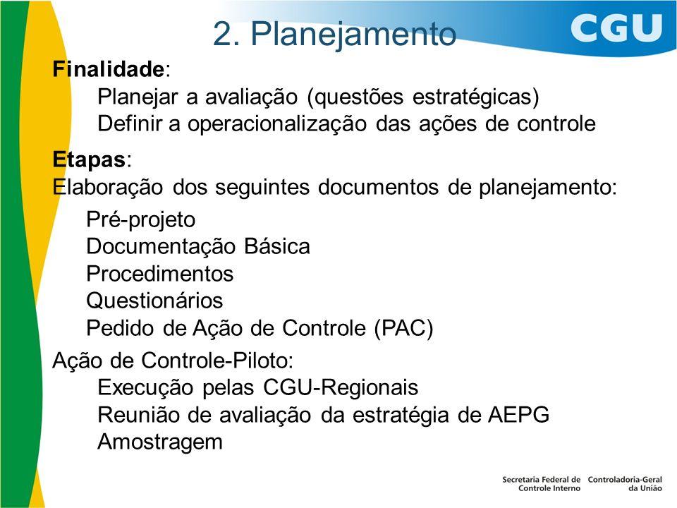 2. Planejamento Finalidade:
