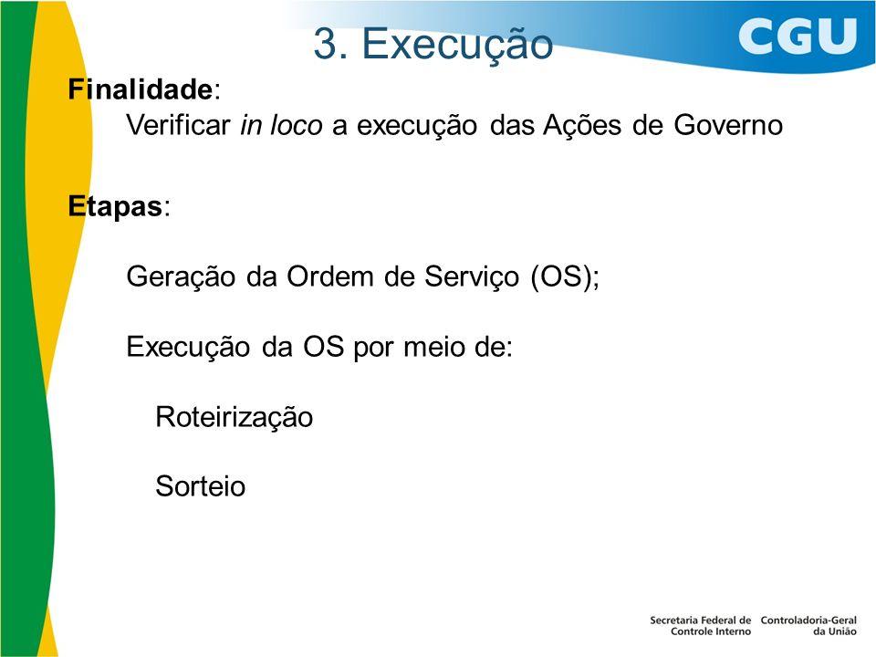 3. ExecuçãoFinalidade: Verificar in loco a execução das Ações de Governo. Etapas: Geração da Ordem de Serviço (OS);
