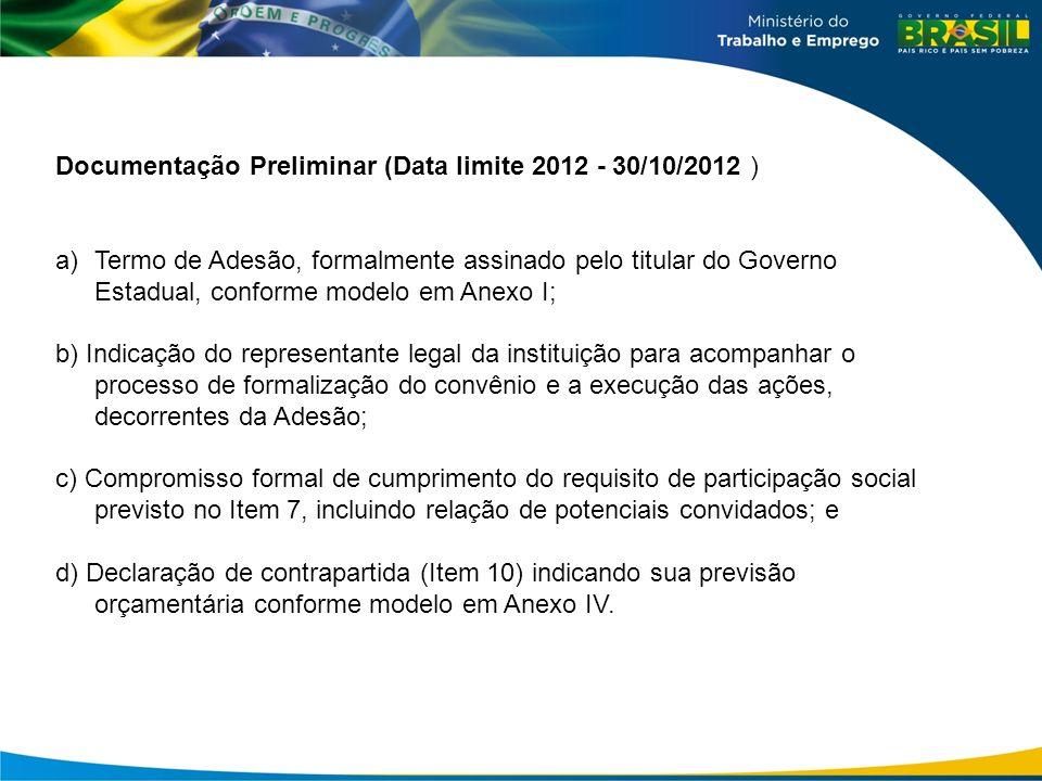 Documentação Preliminar (Data limite 2012 - 30/10/2012 )
