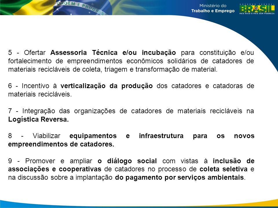 5 - Ofertar Assessoria Técnica e/ou incubação para constituição e/ou fortalecimento de empreendimentos econômicos solidários de catadores de materiais recicláveis de coleta, triagem e transformação de material.