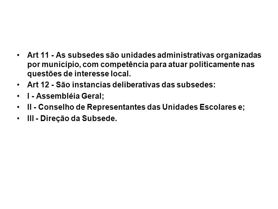 Art 11 - As subsedes são unidades administrativas organizadas por município, com competência para atuar politicamente nas questões de interesse local.