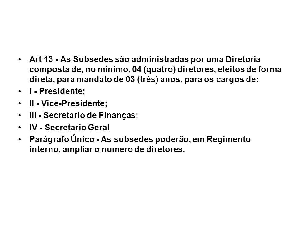 Art 13 - As Subsedes são administradas por uma Diretoria composta de, no mínimo, 04 (quatro) diretores, eleitos de forma direta, para mandato de 03 (três) anos, para os cargos de: