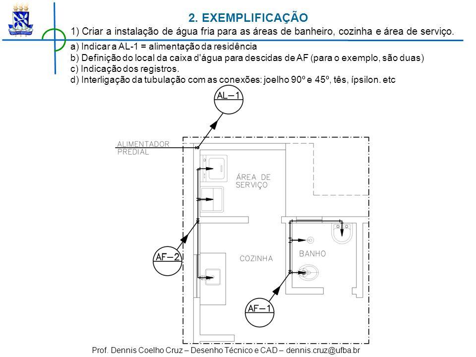2. EXEMPLIFICAÇÃO1) Criar a instalação de água fria para as áreas de banheiro, cozinha e área de serviço.