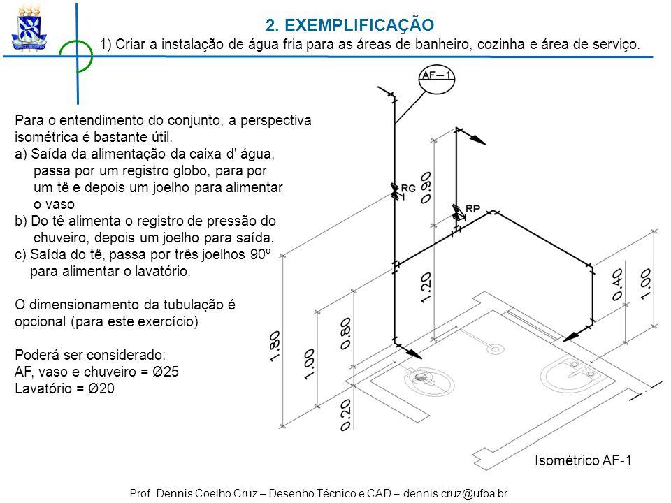 2. EXEMPLIFICAÇÃO 1) Criar a instalação de água fria para as áreas de banheiro, cozinha e área de serviço.