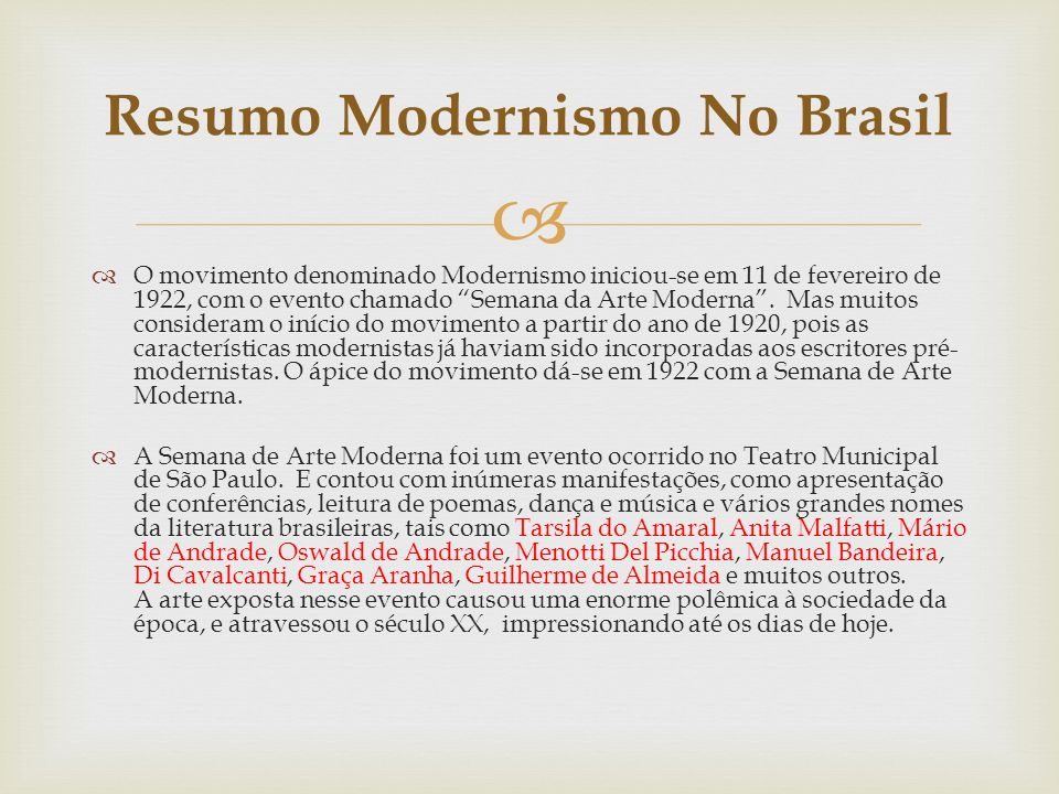 Resumo Modernismo No Brasil