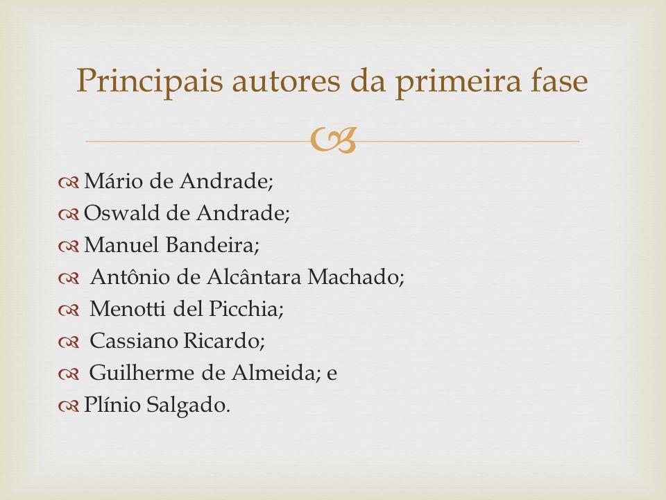Principais autores da primeira fase