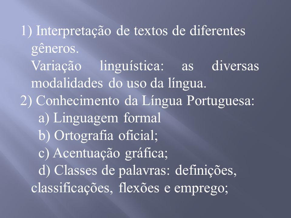 Interpretação de textos de diferentes gêneros.