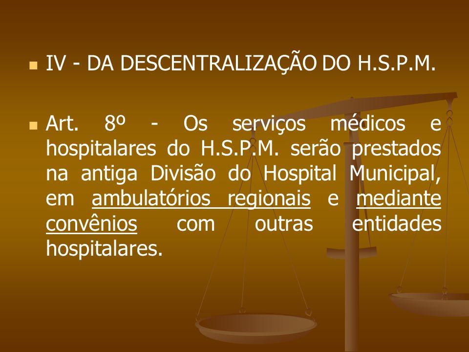 IV - DA DESCENTRALIZAÇÃO DO H.S.P.M.