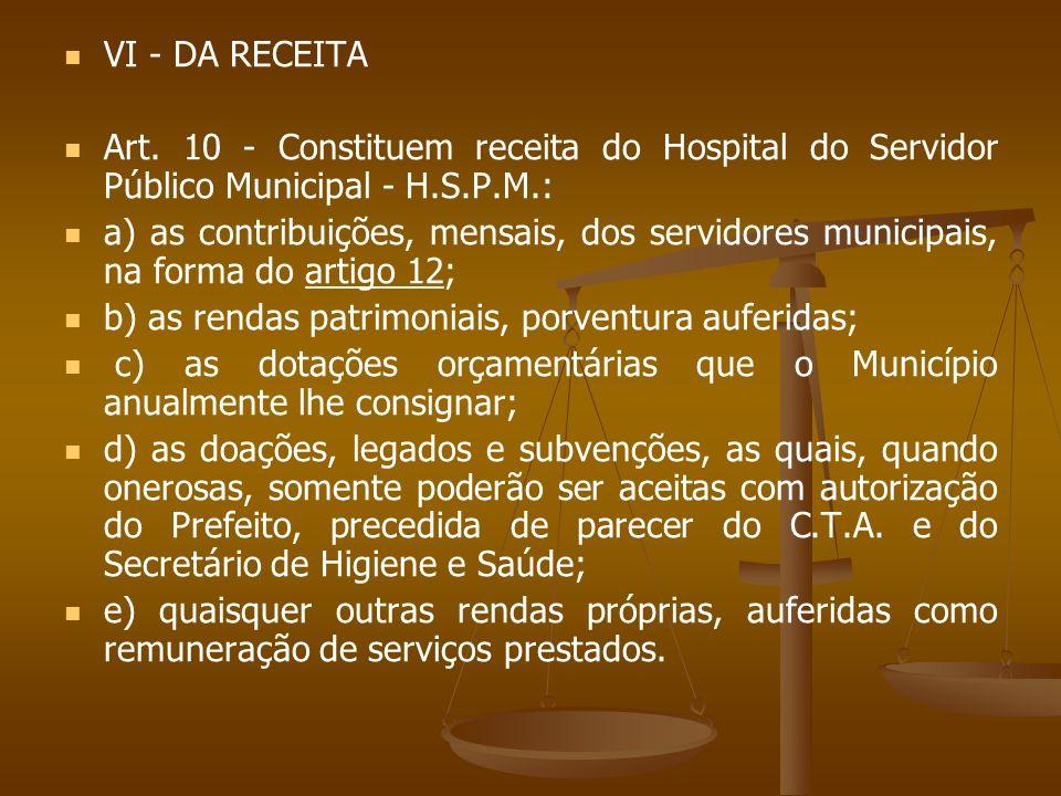 VI - DA RECEITA Art. 10 - Constituem receita do Hospital do Servidor Público Municipal - H.S.P.M.: