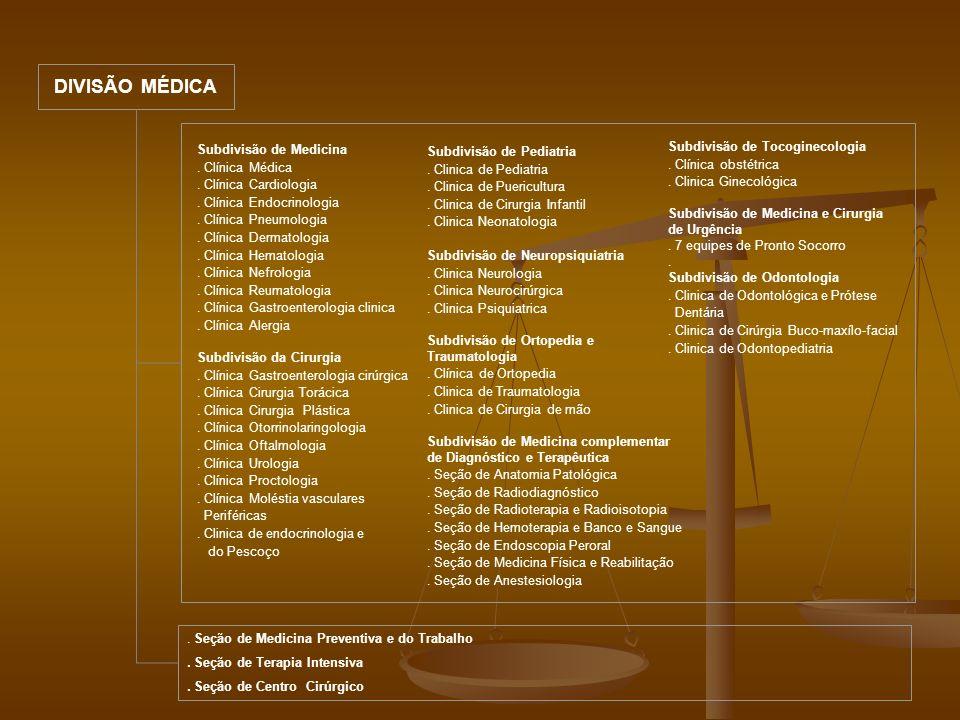 DIVISÃO MÉDICA Subdivisão de Medicina . Clínica Médica