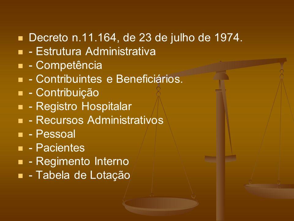 Decreto n.11.164, de 23 de julho de 1974. - Estrutura Administrativa. - Competência. - Contribuintes e Beneficiários.