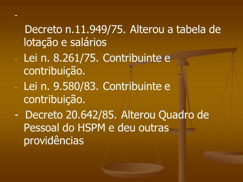 Lei n. 8.261/75. Contribuinte e contribuição.