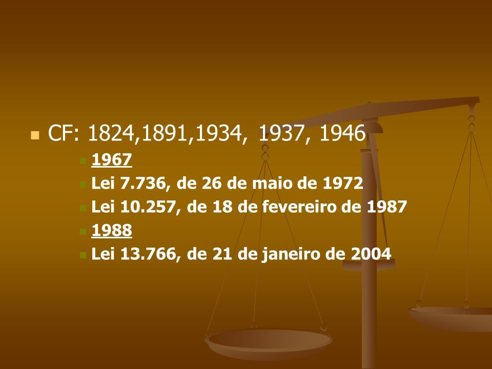 CF: 1824,1891,1934, 1937, 1946 1967. Lei 7.736, de 26 de maio de 1972. Lei 10.257, de 18 de fevereiro de 1987.