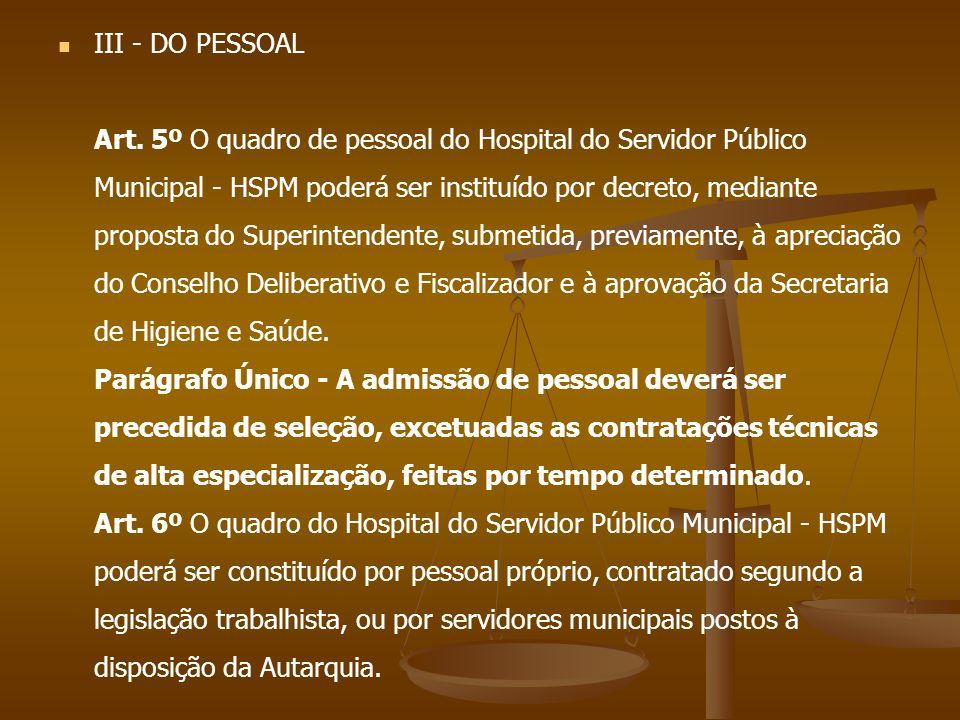III - DO PESSOAL Art.