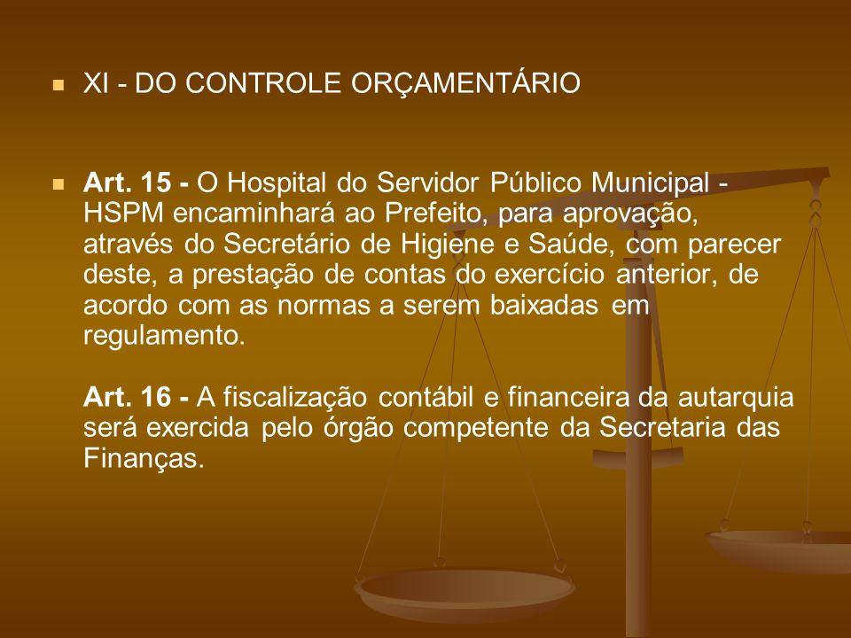 XI - DO CONTROLE ORÇAMENTÁRIO