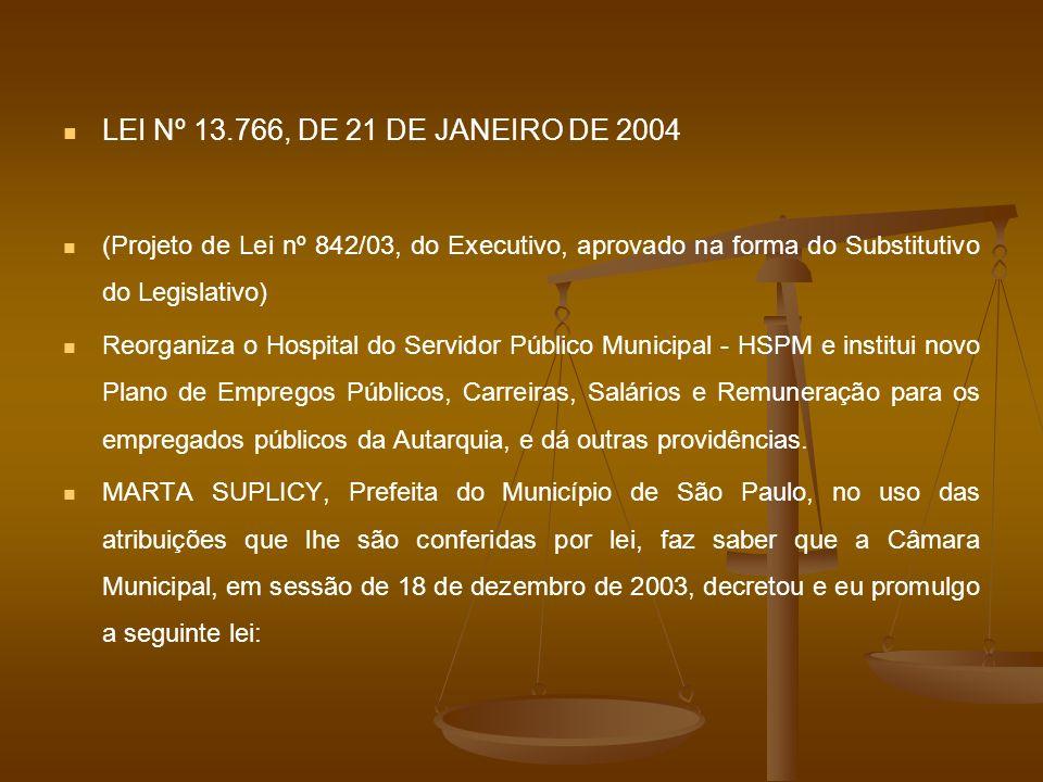 LEI Nº 13.766, DE 21 DE JANEIRO DE 2004 (Projeto de Lei nº 842/03, do Executivo, aprovado na forma do Substitutivo do Legislativo)