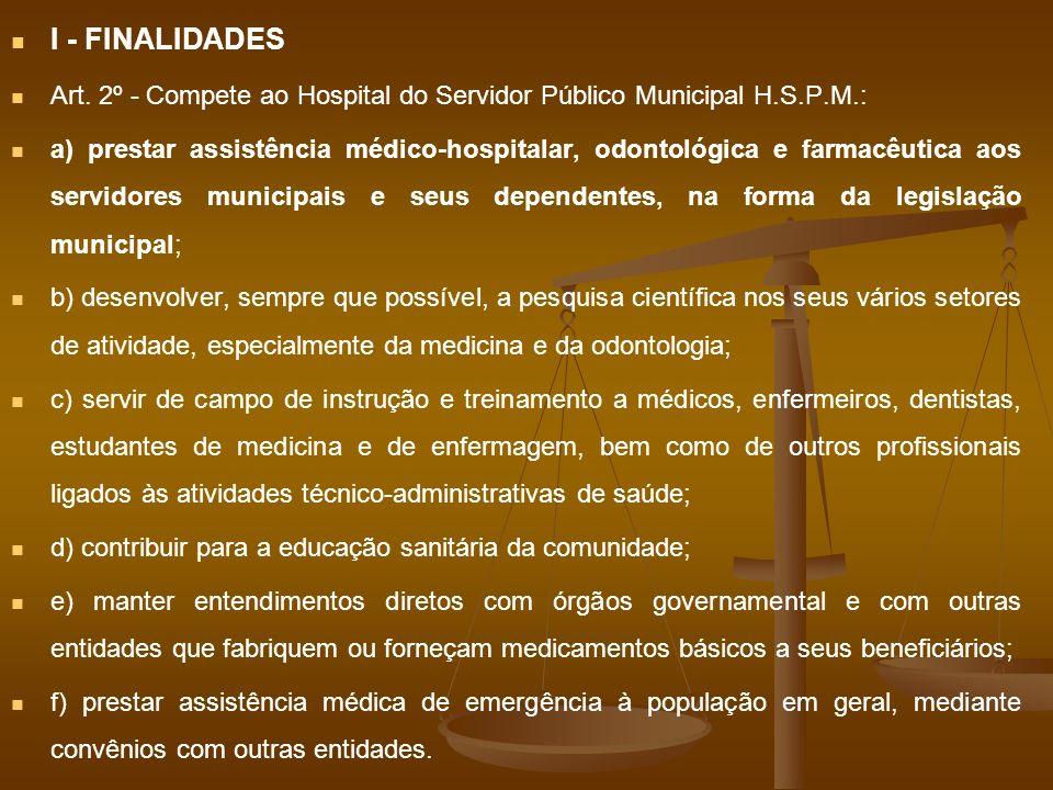 I - FINALIDADES Art. 2º - Compete ao Hospital do Servidor Público Municipal H.S.P.M.: