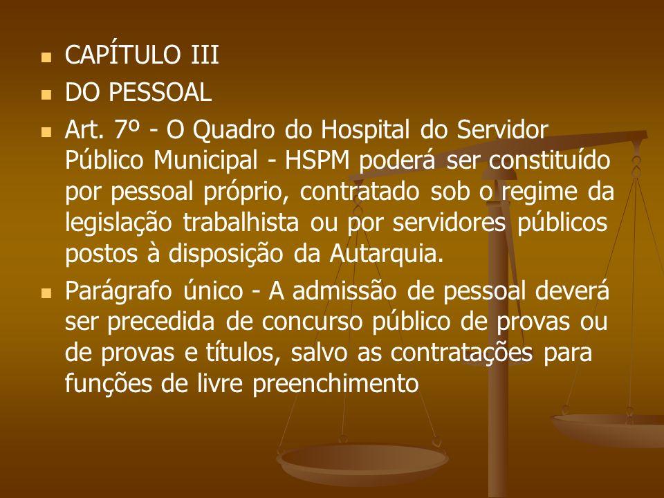 CAPÍTULO III DO PESSOAL.