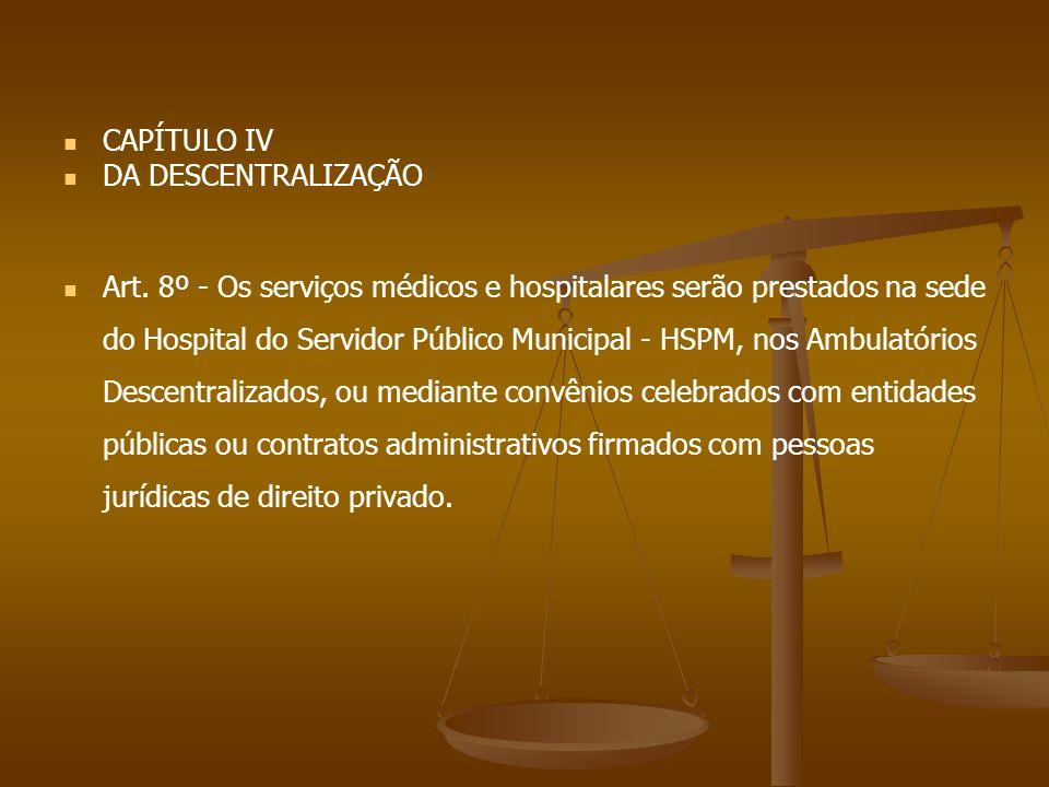 CAPÍTULO IV DA DESCENTRALIZAÇÃO.
