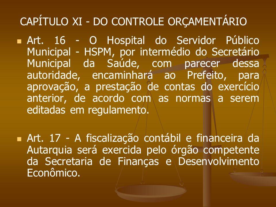 CAPÍTULO XI - DO CONTROLE ORÇAMENTÁRIO