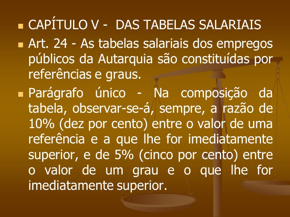 CAPÍTULO V - DAS TABELAS SALARIAIS