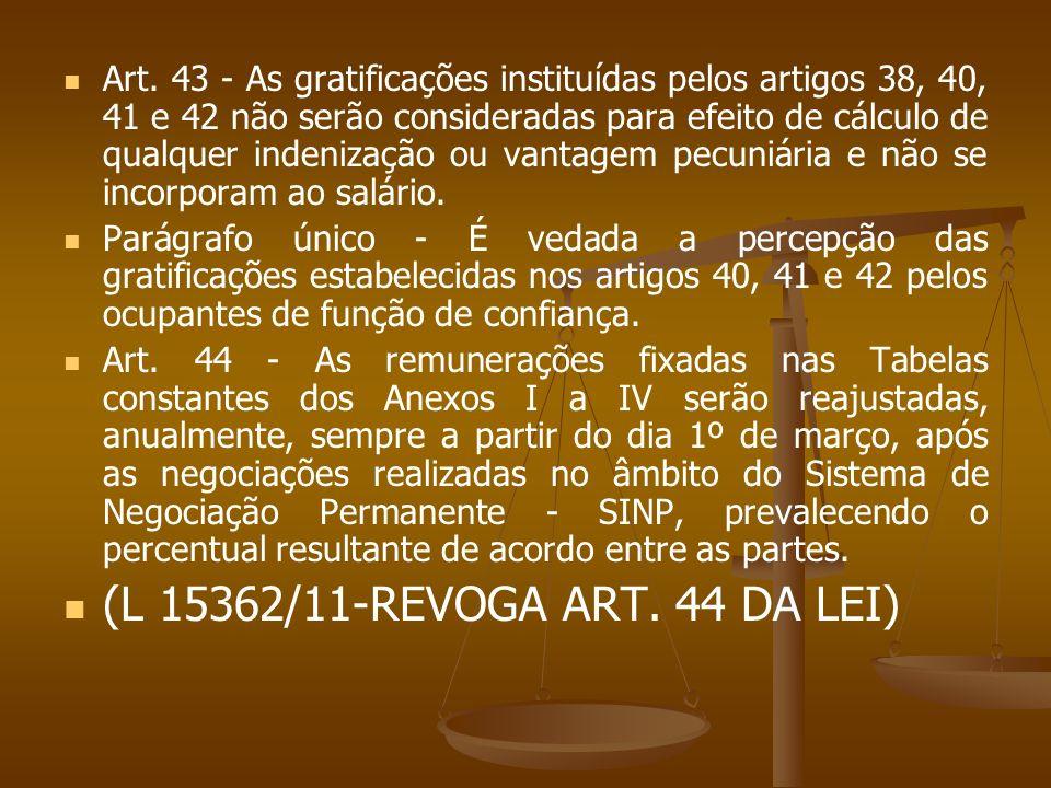 Art. 43 - As gratificações instituídas pelos artigos 38, 40, 41 e 42 não serão consideradas para efeito de cálculo de qualquer indenização ou vantagem pecuniária e não se incorporam ao salário.