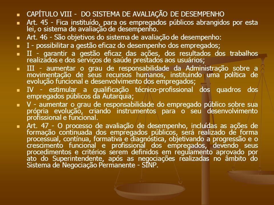 CAPÍTULO VIII - DO SISTEMA DE AVALIAÇÃO DE DESEMPENHO