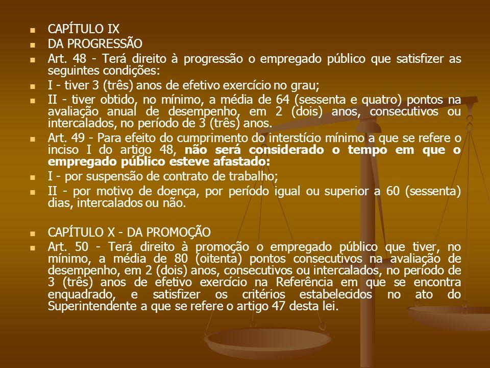 CAPÍTULO IX DA PROGRESSÃO. Art. 48 - Terá direito à progressão o empregado público que satisfizer as seguintes condições: