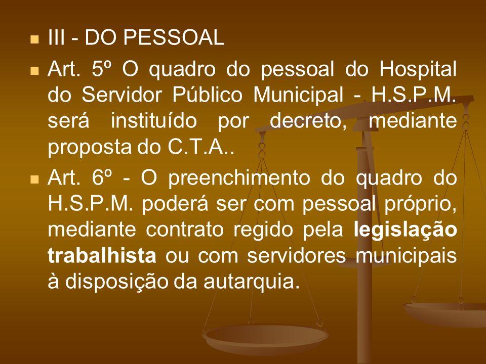III - DO PESSOAL