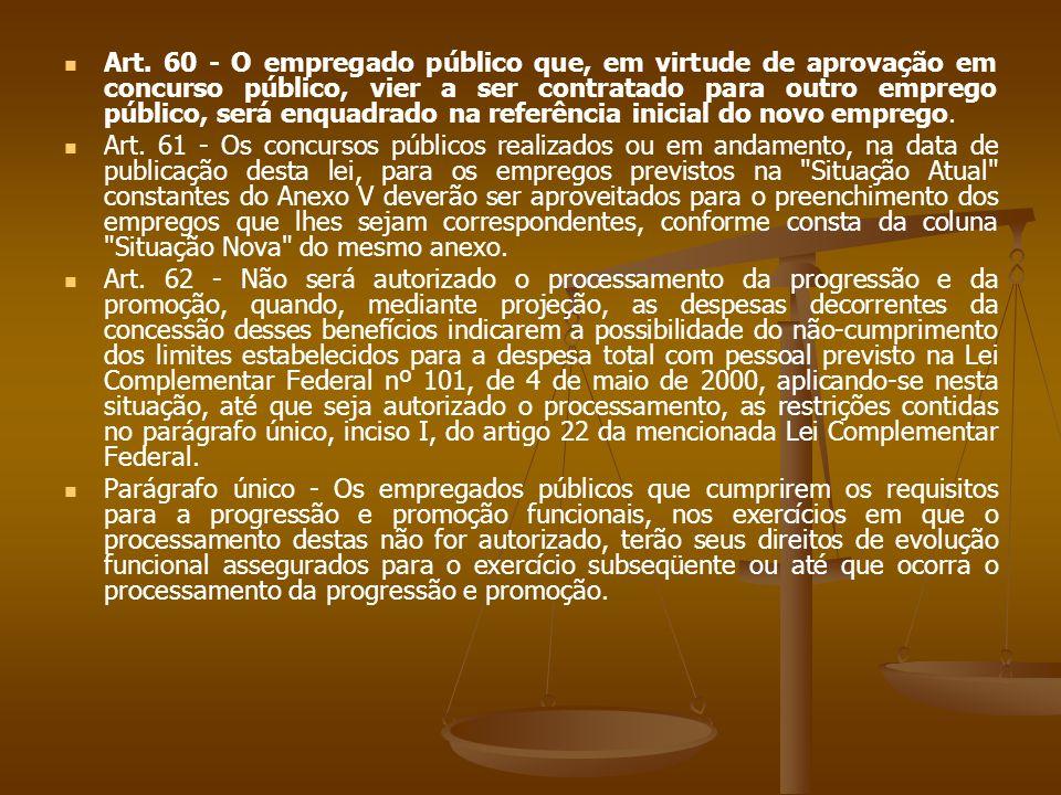 Art. 60 - O empregado público que, em virtude de aprovação em concurso público, vier a ser contratado para outro emprego público, será enquadrado na referência inicial do novo emprego.