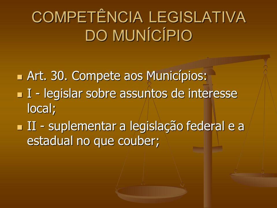 COMPETÊNCIA LEGISLATIVA DO MUNÍCÍPIO