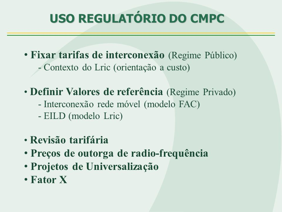 USO REGULATÓRIO DO CMPC