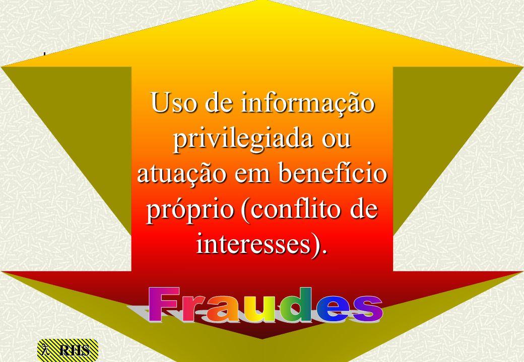 Uso de informação privilegiada ou atuação em benefício próprio (conflito de interesses).