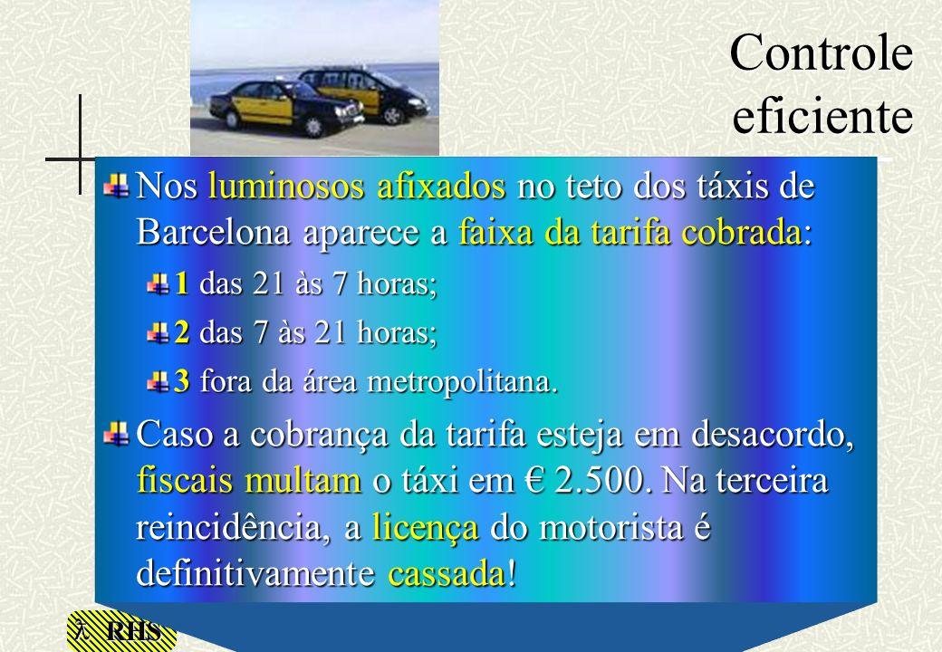 Controle eficiente Nos luminosos afixados no teto dos táxis de Barcelona aparece a faixa da tarifa cobrada: