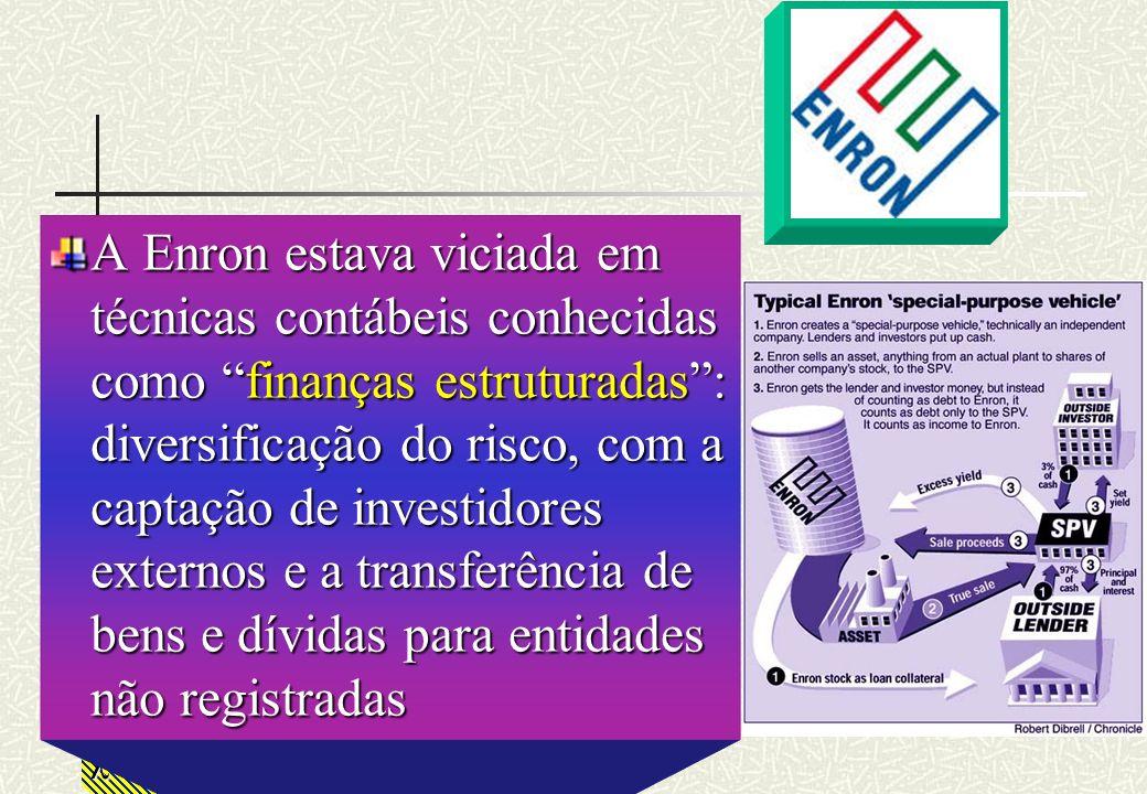 A Enron estava viciada em técnicas contábeis conhecidas como finanças estruturadas : diversificação do risco, com a captação de investidores externos e a transferência de bens e dívidas para entidades não registradas