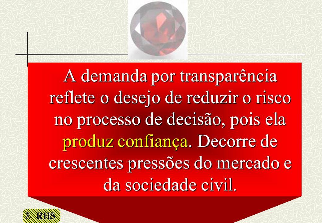 A demanda por transparência reflete o desejo de reduzir o risco no processo de decisão, pois ela produz confiança.