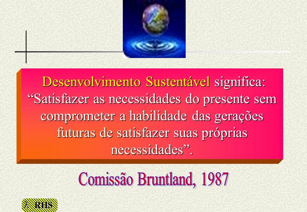 Desenvolvimento Sustentável significa: Satisfazer as necessidades do presente sem comprometer a habilidade das gerações futuras de satisfazer suas próprias necessidades .