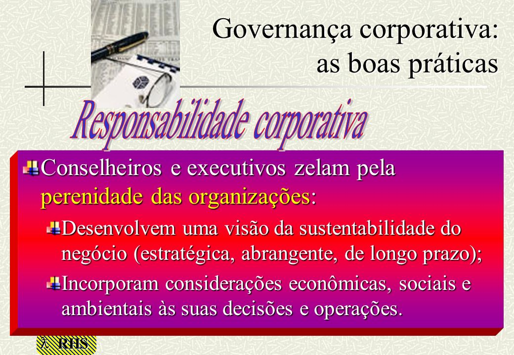 Governança corporativa: as boas práticas