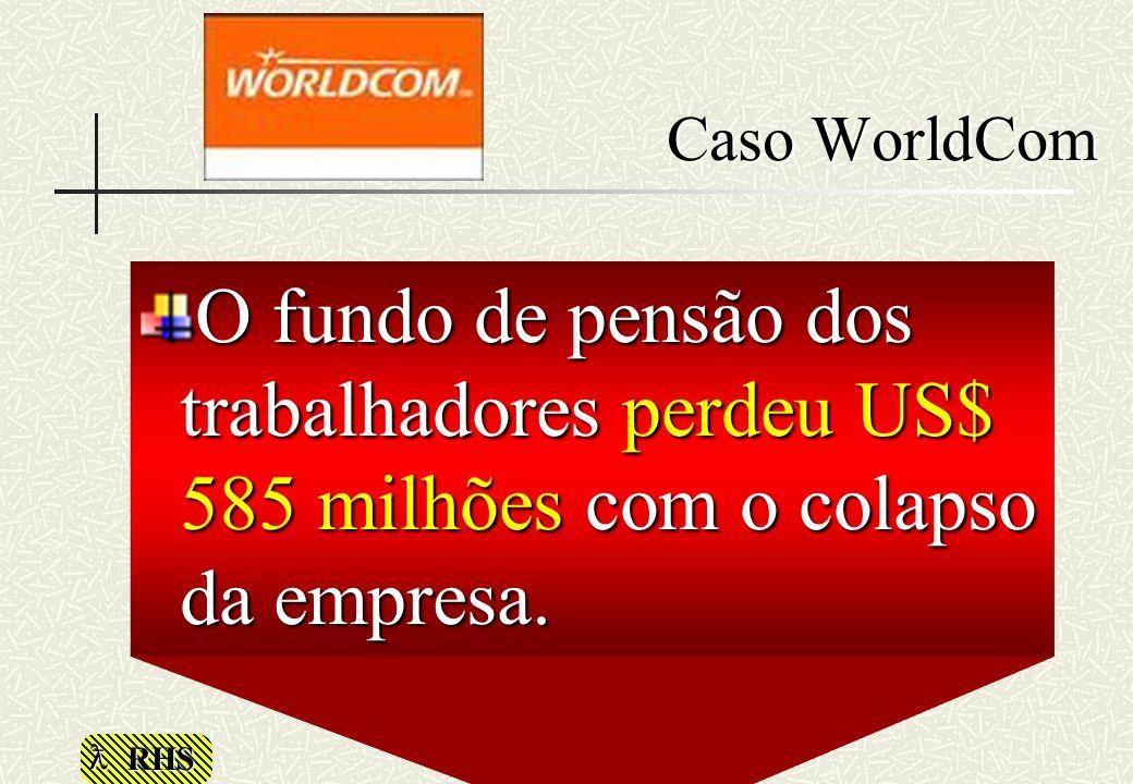 Caso WorldCom O fundo de pensão dos trabalhadores perdeu US$ 585 milhões com o colapso da empresa.