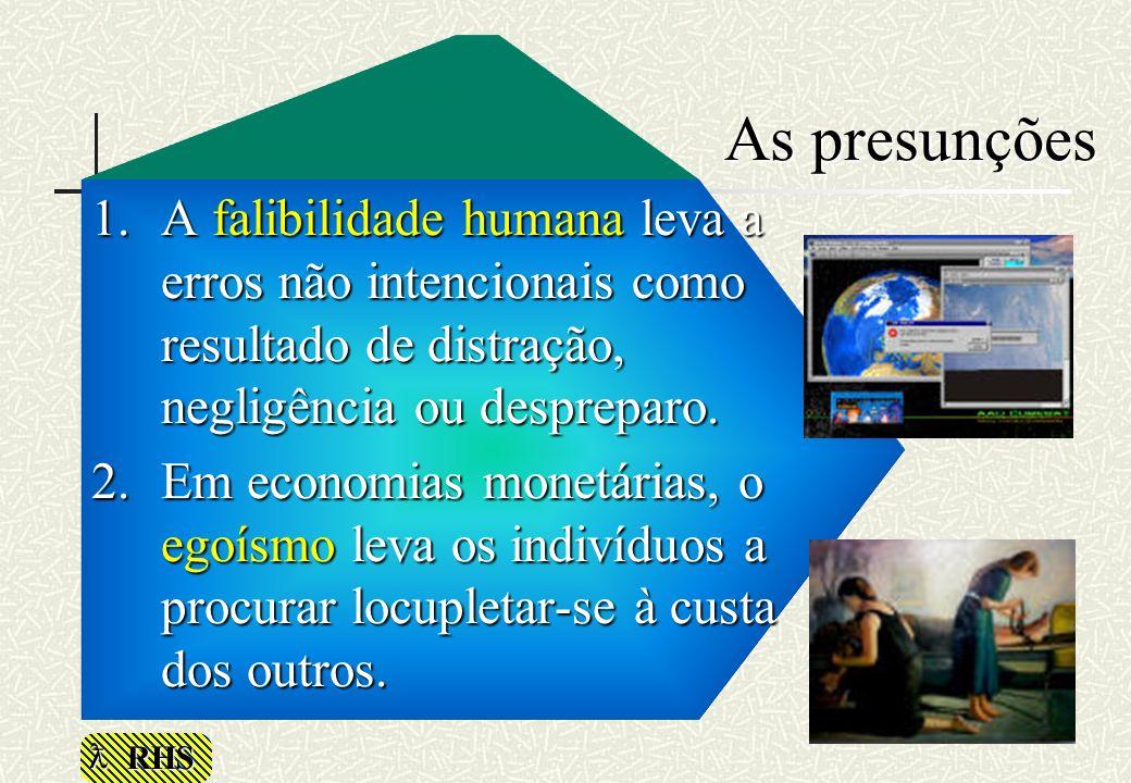 As presunções A falibilidade humana leva a erros não intencionais como resultado de distração, negligência ou despreparo.