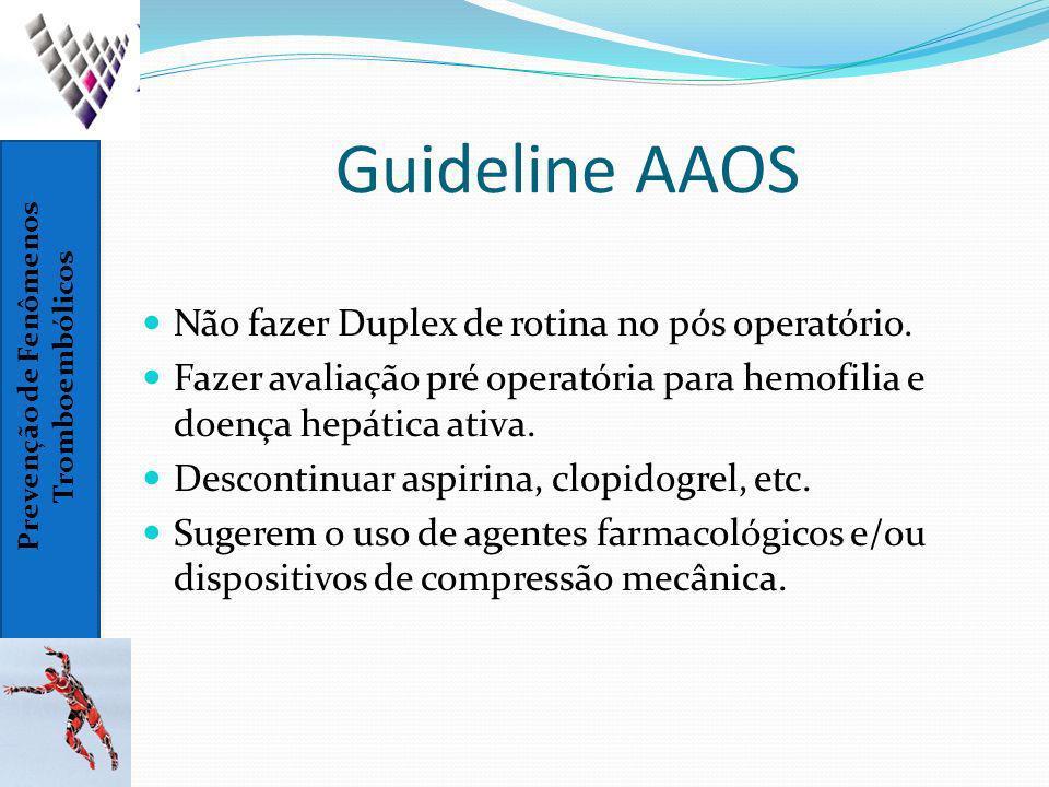 Guideline AAOS Não fazer Duplex de rotina no pós operatório.
