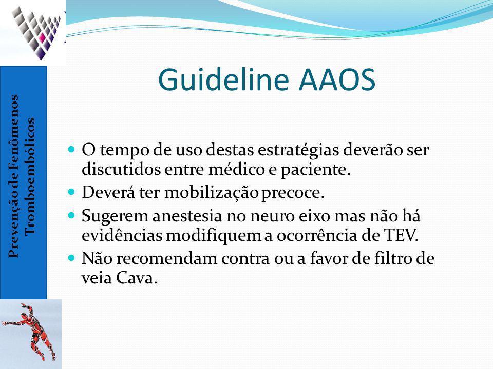 Guideline AAOS O tempo de uso destas estratégias deverão ser discutidos entre médico e paciente. Deverá ter mobilização precoce.