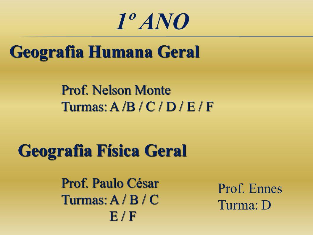 1º ANO Geografia Humana Geral Geografia Física Geral