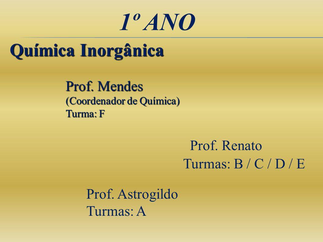 1º ANO Química Inorgânica Prof. Mendes (Coordenador de Química)