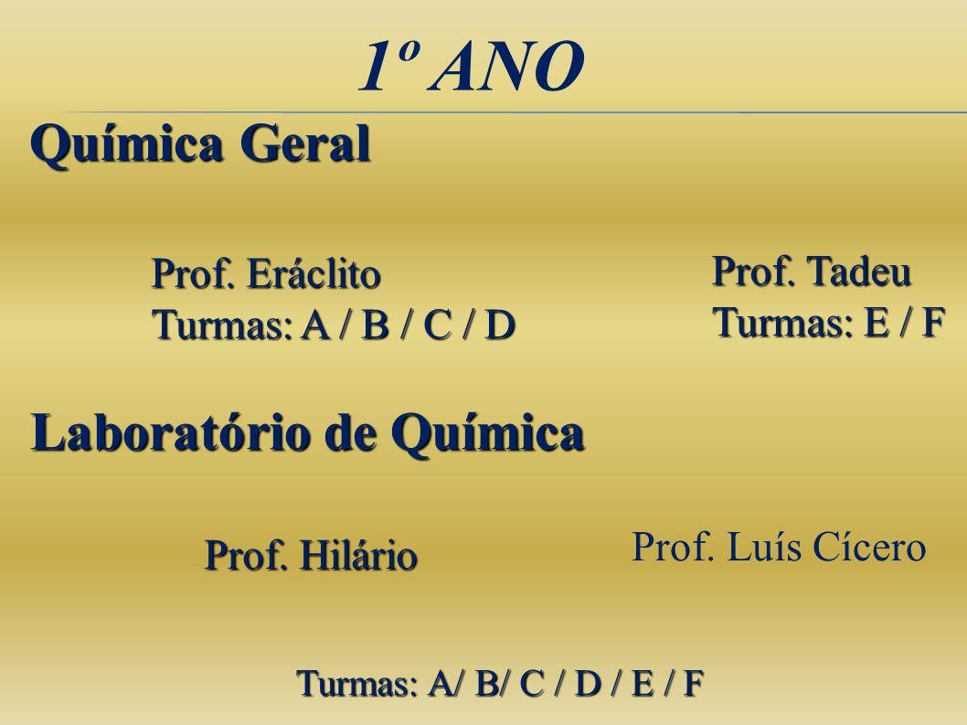 1º ANO Química Geral Laboratório de Química Prof. Eráclito Prof. Tadeu