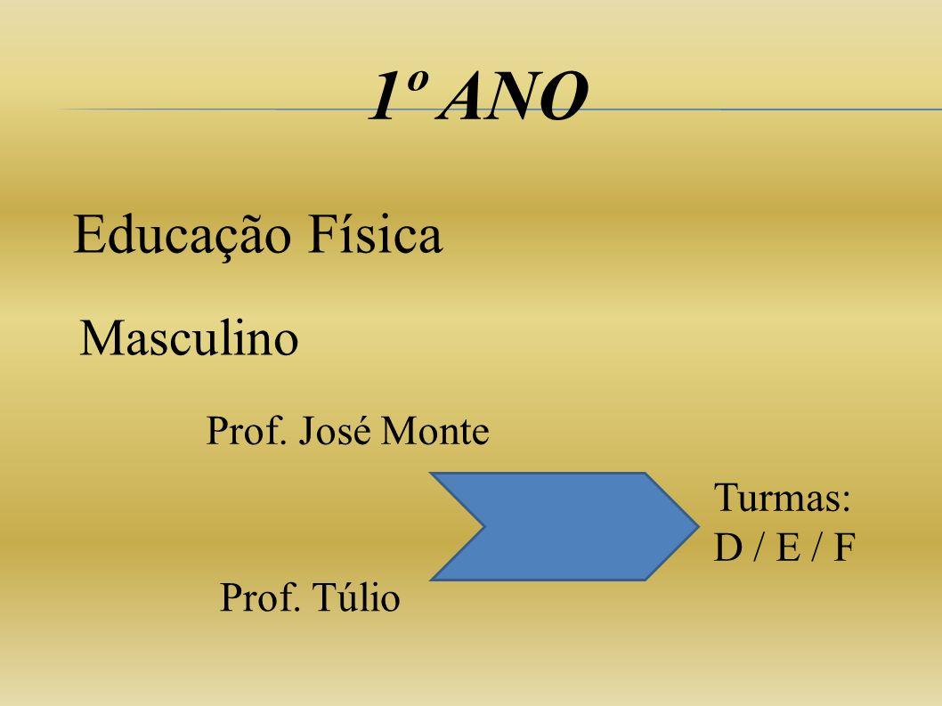1º ANO Educação Física Masculino Prof. José Monte Turmas: D / E / F
