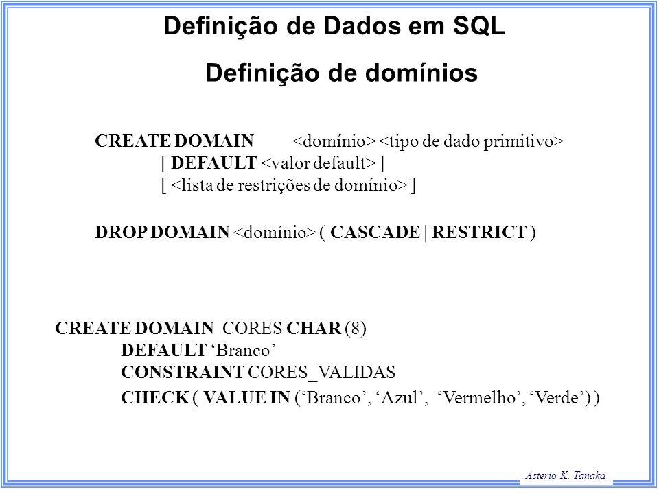 Definição de Dados em SQL
