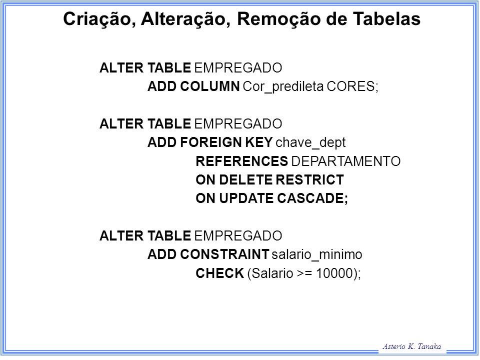 Criação, Alteração, Remoção de Tabelas