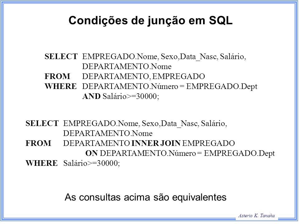 Condições de junção em SQL